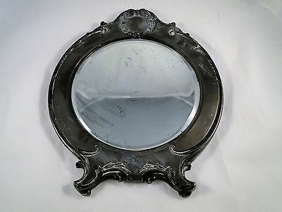 Antique Round Beveled Vanity Mirror in Polished Cast Iron Victorian Frame