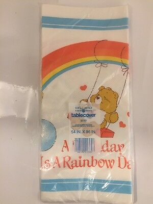 """Vtg Care Bear Paper Tablecover Party - 54"""" x 96""""  """"A Birthday is a Rainbow Day"""""""