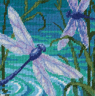 """Dragonfly Pair Mini Needlepoint Kit 5""""X5"""" Stitched In Thread & Ribbon 7208"""