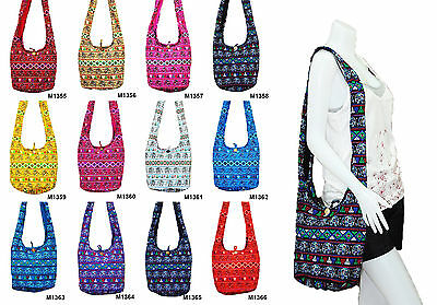 67b55daeb51 SALE Thai Hippie Hobo Sling Shoulder Crossbody Bag Purse Elephant Boho  Gypsy Zip