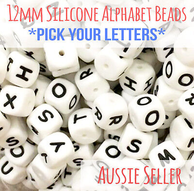 12mm Silicone Letter Beads Alphabet BPA free teething necklace jewellery name