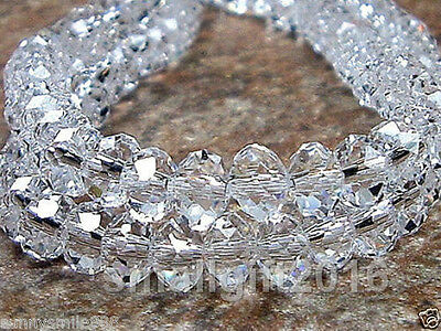 100PCS RONDELLE FACETED GLASS CRYSTAL BEADS 4x6MM Clear jewellery making beads