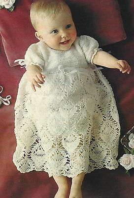 Baby Vintage Christening Gown Heirloom 2ply Crochet Pattern 913