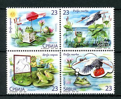 Serbia 2016 MNH Children's Stamps Frogs Storks Lillies Flowers Birds 4v Block