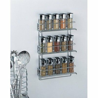 Metal Spice Rack Holder Hanging Wall Mounted Kitchen Organizer Chrome 3 Tier New