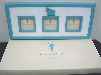Pottery Barn Kids Nursery Picture Frame Lamb Baby Boy Blue & White Wood