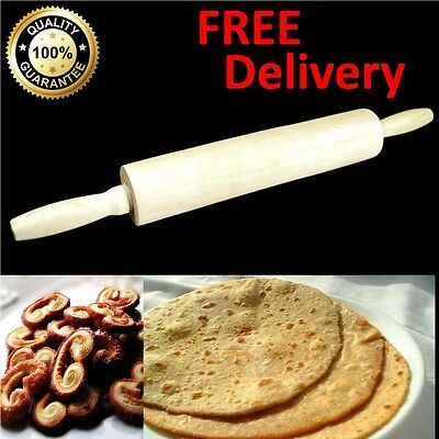 45cm Wooden LARGE Rolling Pin Pastry Baking Pizza Dough Kitchen REVOLVING Handle