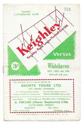 Keighley v Whitehaven, 1958/59 - Northern League Match Programme.