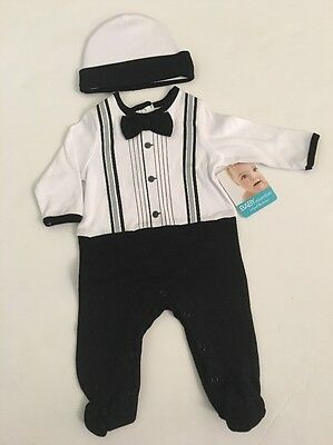 Baby Essentials Boy Tuxedo Coverall Outfit Hat Set Size Newborn 3 6 9 months 39b94147168b