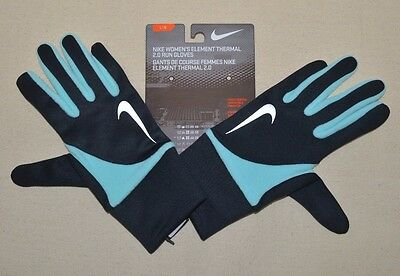 NIKE Women's Element Thermal 2.0 Running Gloves Black Touch Screen NRGC4 L New
