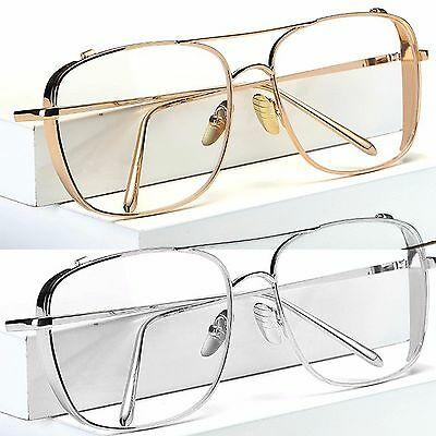 Large Clear Lens Glasses Slim Metal Frame Womens Mens