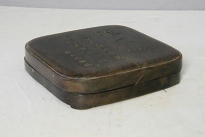 Chinese  Blace  Ink  Stone  With  Wood  Box     M2115