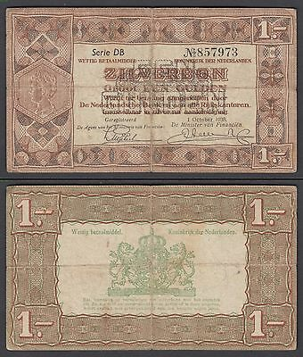 Netherlands 1 Gulden Zilverbon 1938 (VG-F) Condition Banknote P-61
