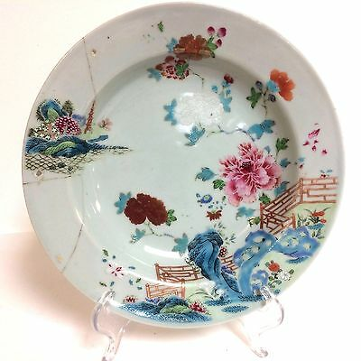 """18th Century Chinese Export Plate Soup Bowl with Flower Decoration 9"""""""