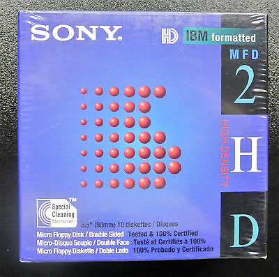 "SONY 10x Floppy Discs MFD 2HD 1.44MB 3.5"" Diskettes (Brand New & sealed)"