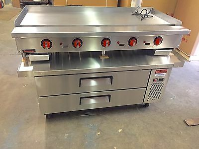 """60"""" Flat Griddle NEW Heavy Duty 60"""" Chef Base 2 Drawer New Thermostat Control"""