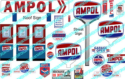 HO Scale Ampol Servo Sign Kit - Model Railway Signs - HOAM1