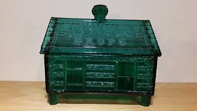 Rare Green Vintage Lutted's S.P. Cough Drop Glass Log Cabin Jar Store Display
