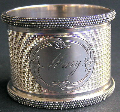 Vintage / Antique Silver Plated Napkin Ring, Engine Turned, Engraved 'MARY'
