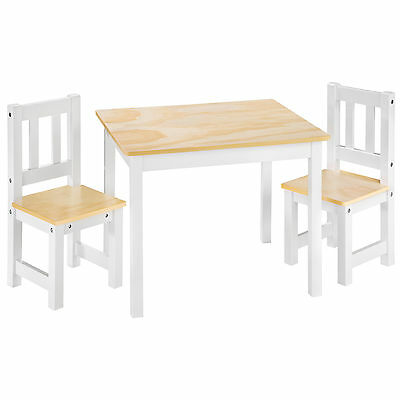 Kids table and 2 chairs set wooden children play indoor furniture playcorner