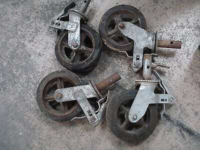"4 Scaffolding Casters with 6"" x 2""  Steel Wheels with hard rubber tire used"