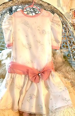 Vintage Girl's Dress Size 12  White/Pink Pretty Bow Spring Easter