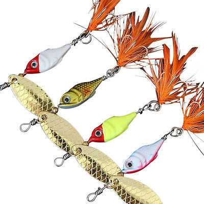 5Pcs Spinner Bait Feather Metal Fishing Lure CrankBait Tackle Hard Lure w/ Hook