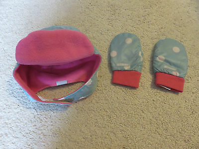 Columbia Toddler Hat and Mittens Light Blue/Pink with Dots One Size GUC