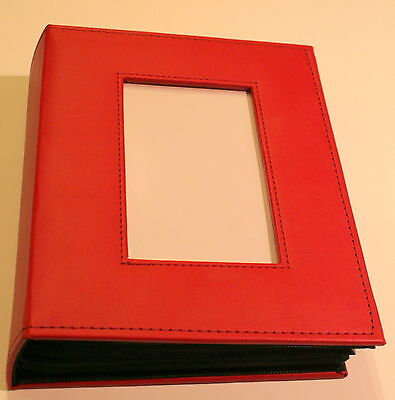 "Red Pioneer 200 Pocket Fabric Sewn Frame Cover Photo Album Holds up to 4"" x 6"""