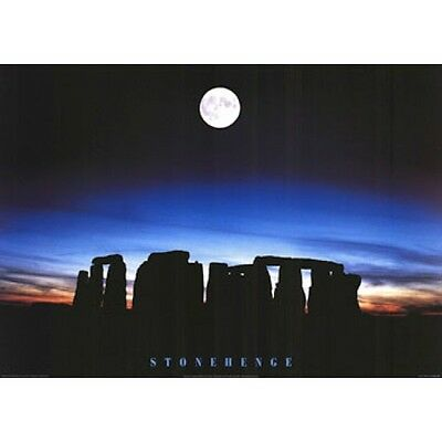 "STONEHENGE - SUNSET SILHOUETTE - RISING MOON 91 x 61 MM 36 x 24"" ART POSTER x"
