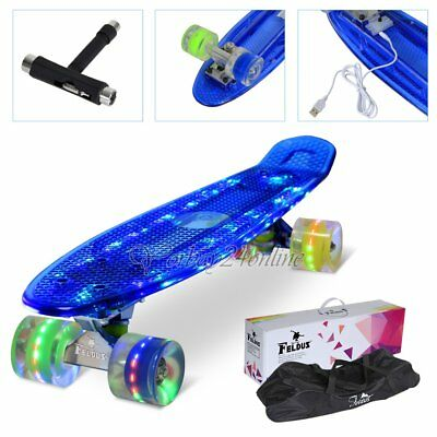 "22"" Retro Skateboard Komplettboard ABEC 7 LED 78A Mini Cruiser Board Pennyboard"
