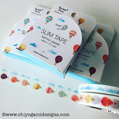 Washi Tape Thin Skinny Hot Air Balloons 2 Piece Set 5Mm & 8Mm X 7Mt Plan Craft