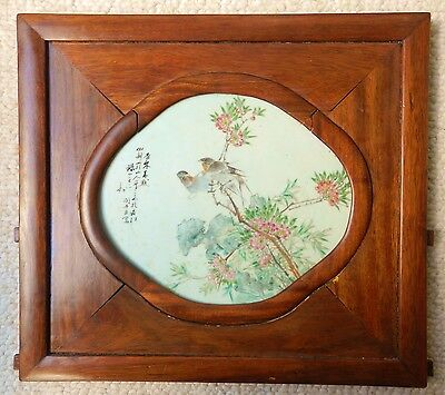 19th Century Chinese Framed Porcelain Plaque Birds Flowers Rosewood Qing Antique
