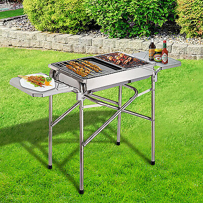 Outsunny BBQ Grill Kebab Charcoal Stainless Steel Cooking Camp Smoker Portable