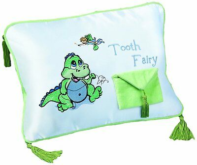 "Lillian Rose Tooth Fairy Embroidered Pillow, Dinosaur, 12"" x 9"""