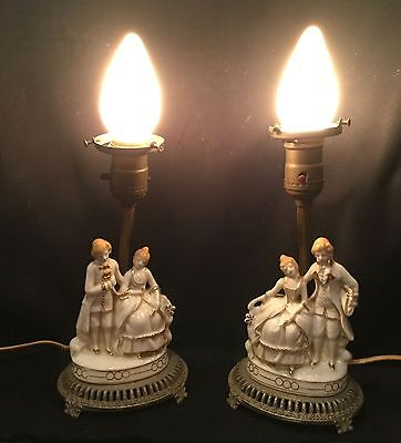 Pair of antique figurine boudoir/ bedside lamps. Rococo style.  Vintage bulbs.
