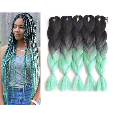 5 Packs Ombre Jumbo Braiding Hair 24'' Kanekalon African Braids 100g/pc 12# Gree