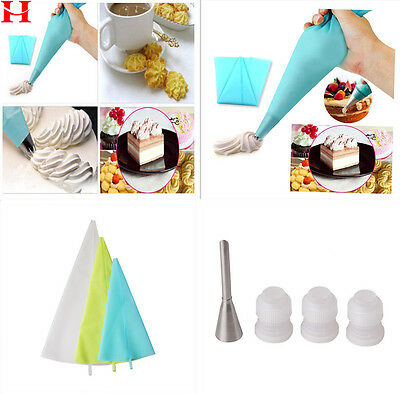 Silicone Icing Piping Cream Pastry Bags + Nozzle Set Cake Decorating Baking Tool
