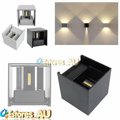 7W/12W Waterproof LED Wall Lamp Up & Down Cube Outdoor Sconce Light Warm White