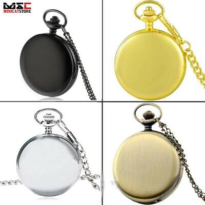 Vintage Glossy Smooth Antique Pocket Watch Chain Quartz Pendant Necklace Gift UK