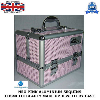 2 X Pink Sequins Professional Aluminium Beauty Cosmetic Box Make Up Case STRONG