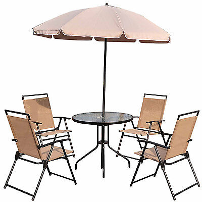 Outsunny 6pc Round Table Chair Set W/ 6.6FT Umbrella Outdoor Patio Furniture Set
