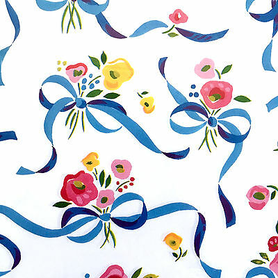 Vintage Gift Wrap Paper Ribbons N Flowers by Current NOS