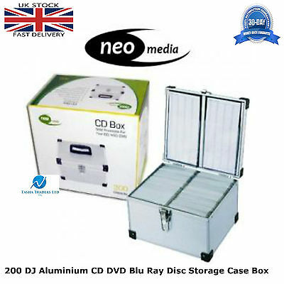 1 x Neo Media 200 Capacity DJ Aluminum SILVER CD DVD Carry Case Box Partitioned