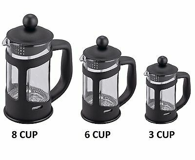 Serving Cafetiere Coffee Maker Mixer Plunger Press Glass Pitcher 3 / 6 / 8 Cup