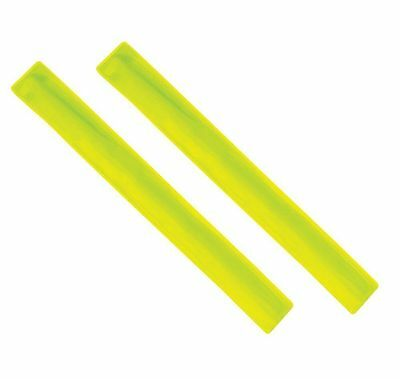 "2 x Yellow Flourescent Arm Strap Bands Hi Viz Reflective Safety Bands 13"" Long"