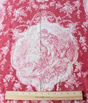 "Romantic Antique c1880 French Toile Cotton Fabric Textile ""Lovers"" Home Dec"