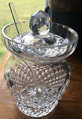 Vintage Salt Bowl Pineapple Inspired Shape Clear Glass With Lid & Glass Spoon E
