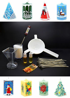 Complete Starter Candle Making Kit Craft Accessory Set Wicks Wax Christmas 7 Pcs
