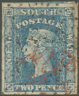 NSW 1856 Small Diadem Wmk '2' INVERTED 2d Blue good imperforate ACSC15 fine used